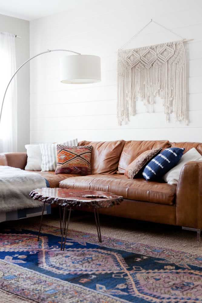 Leather sofa for small room in boho style.