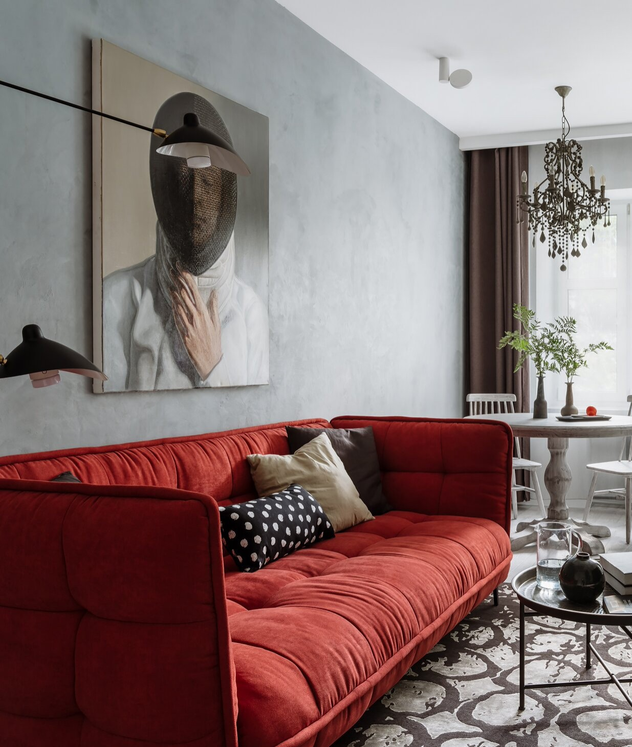 Red sofa for the small room in Scandinavian style
