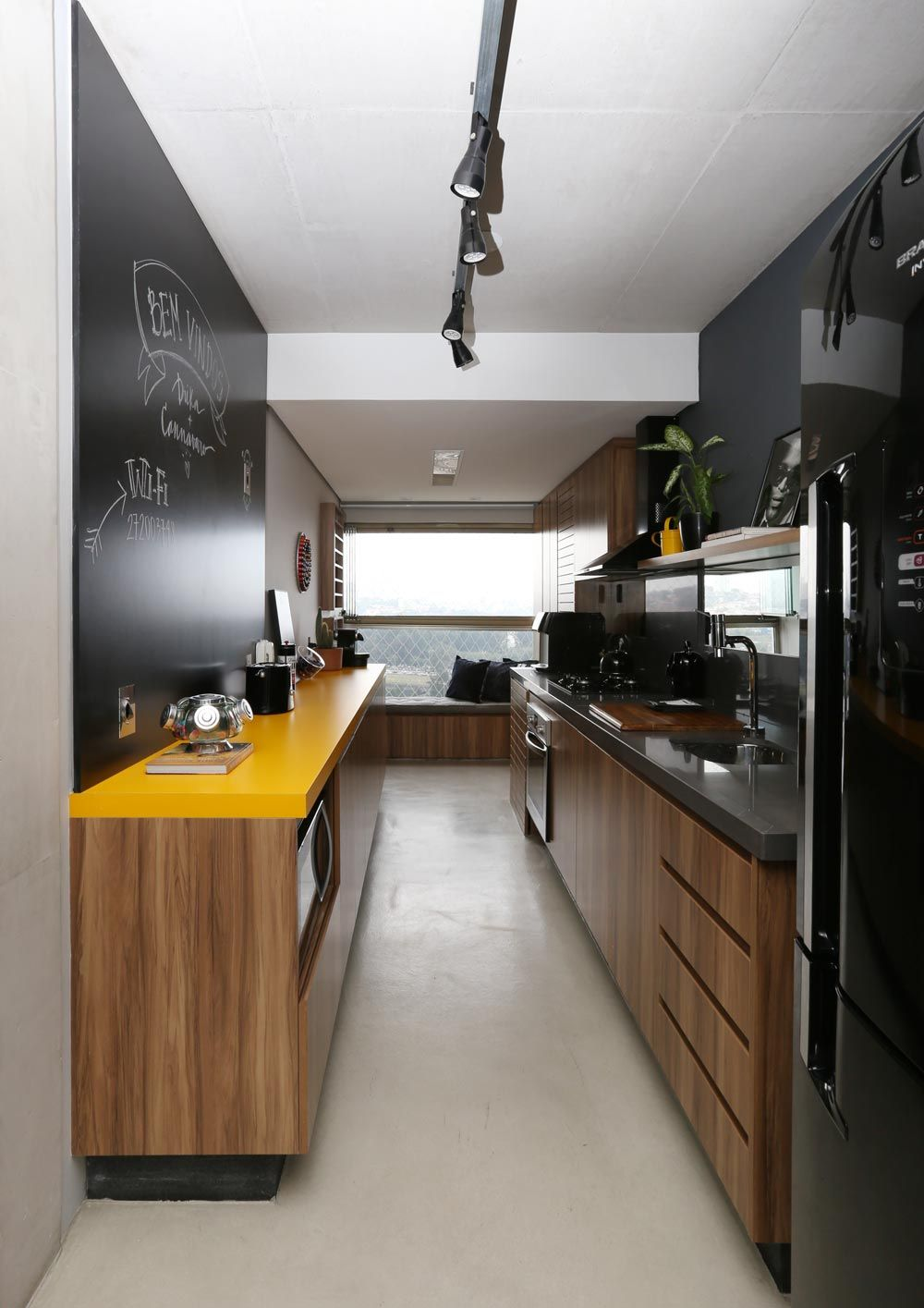Yellow countertops and wood furniture