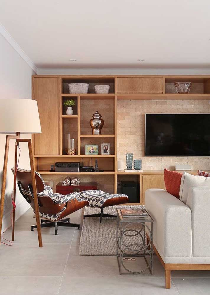 02. Wooden panel for living room with rack, niches and shelves.