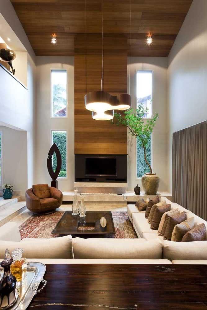 07 - Modern wooden chandelier with organic shape.