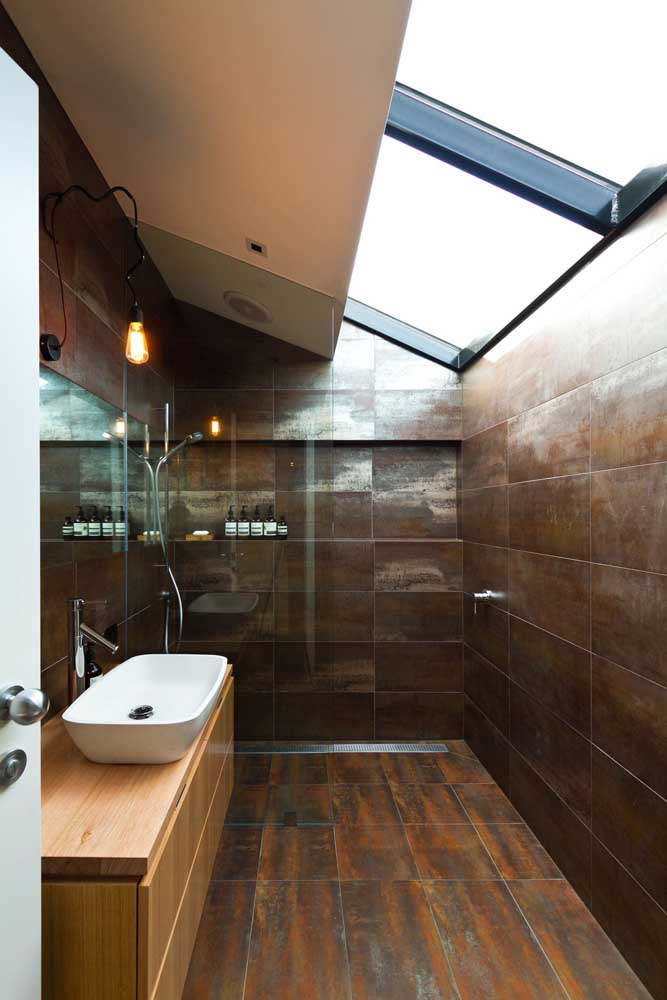 07. What a more interesting corten steel effect to use on the bathroom wall.