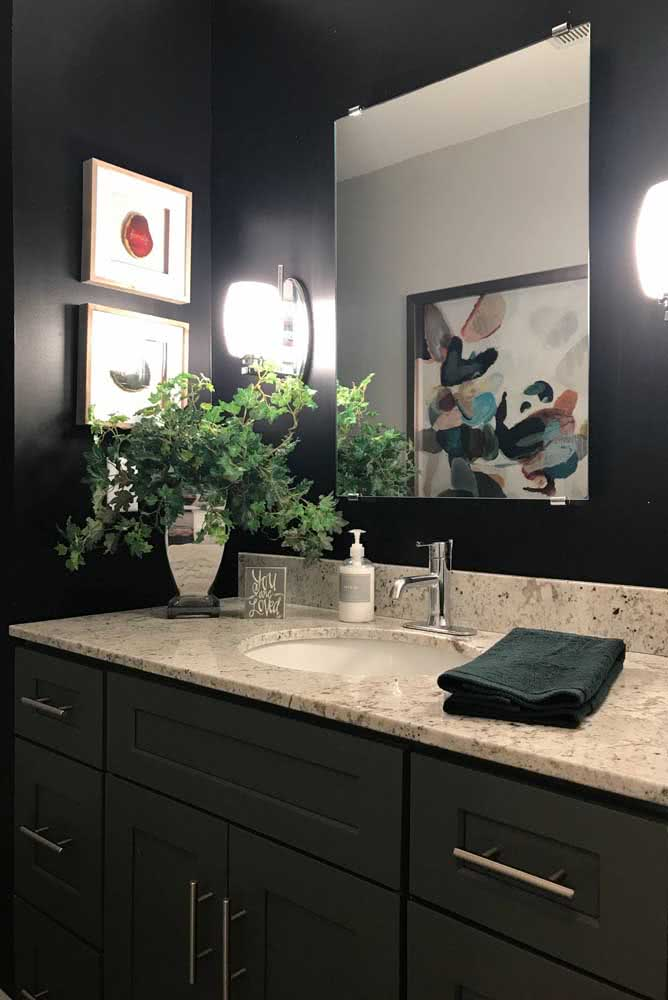 12 - And if the toilet is all dark you can use a light granite countertop to contrast.