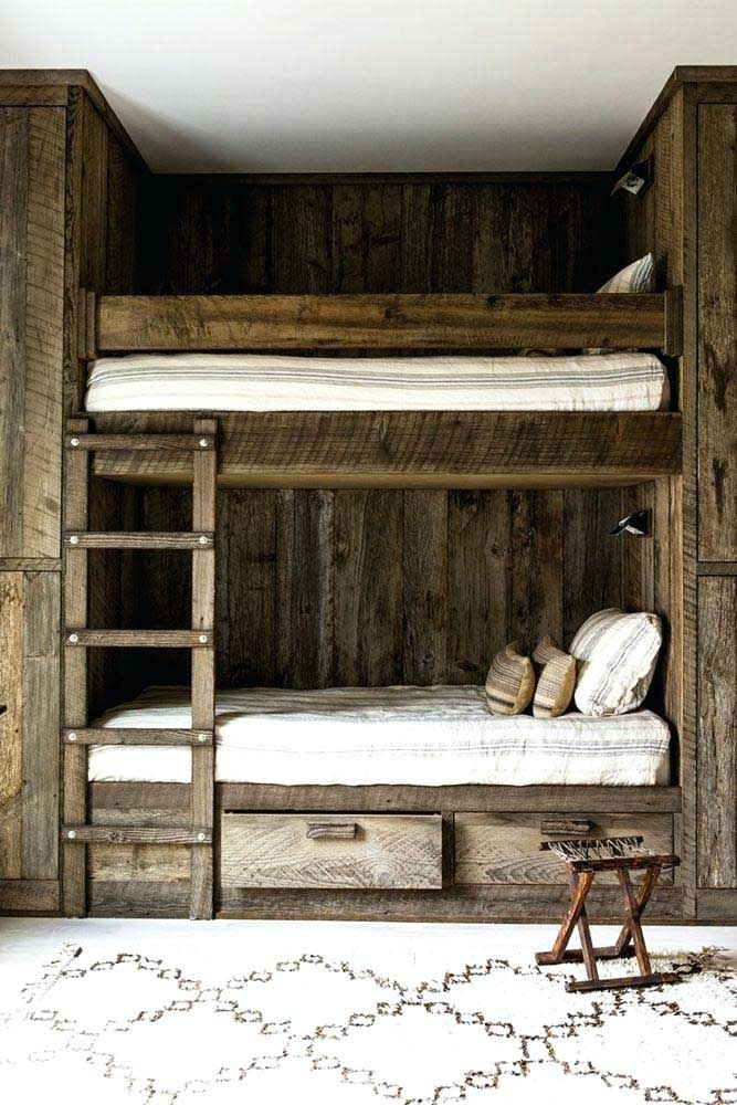 12. Bedroom with solid wood bunk beds to highlight the rustic decor.
