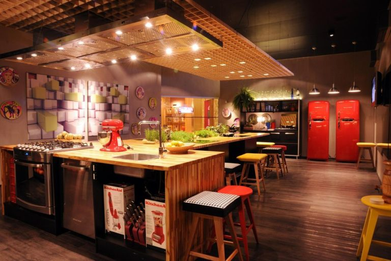 14. Large kitchen in leisure area with island