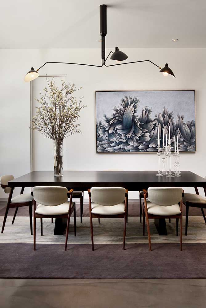 15. Classic wooden table with modern chairs.