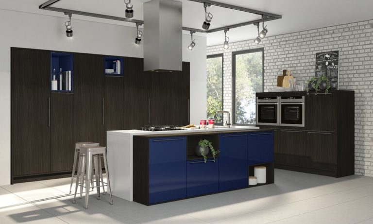 15. Planned kitchen design with center island and blue cabinet doors