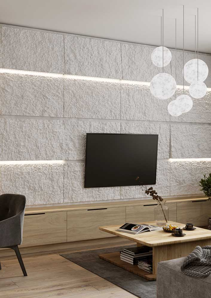 15. Plaster panel with 3D effect and lighting.