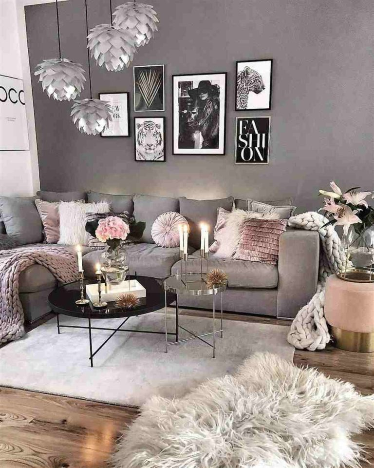 17 - Tips for decorating the chic room in shades of gray and pink