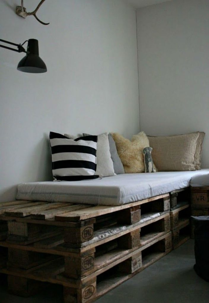 17. Make a simple pallet sofa for your corner