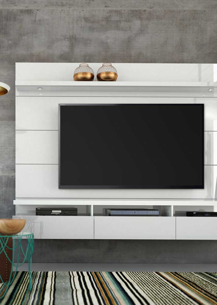 19. Simple white living room panel perfect for any decor.