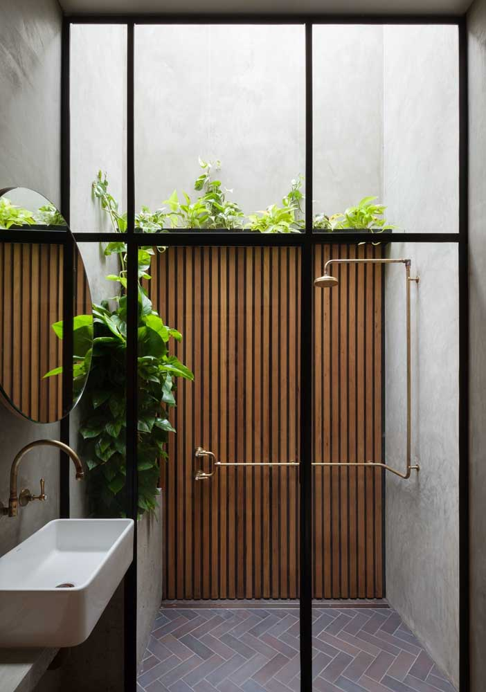 19. The transparent ceiling brings the light that the bathroom plants need.