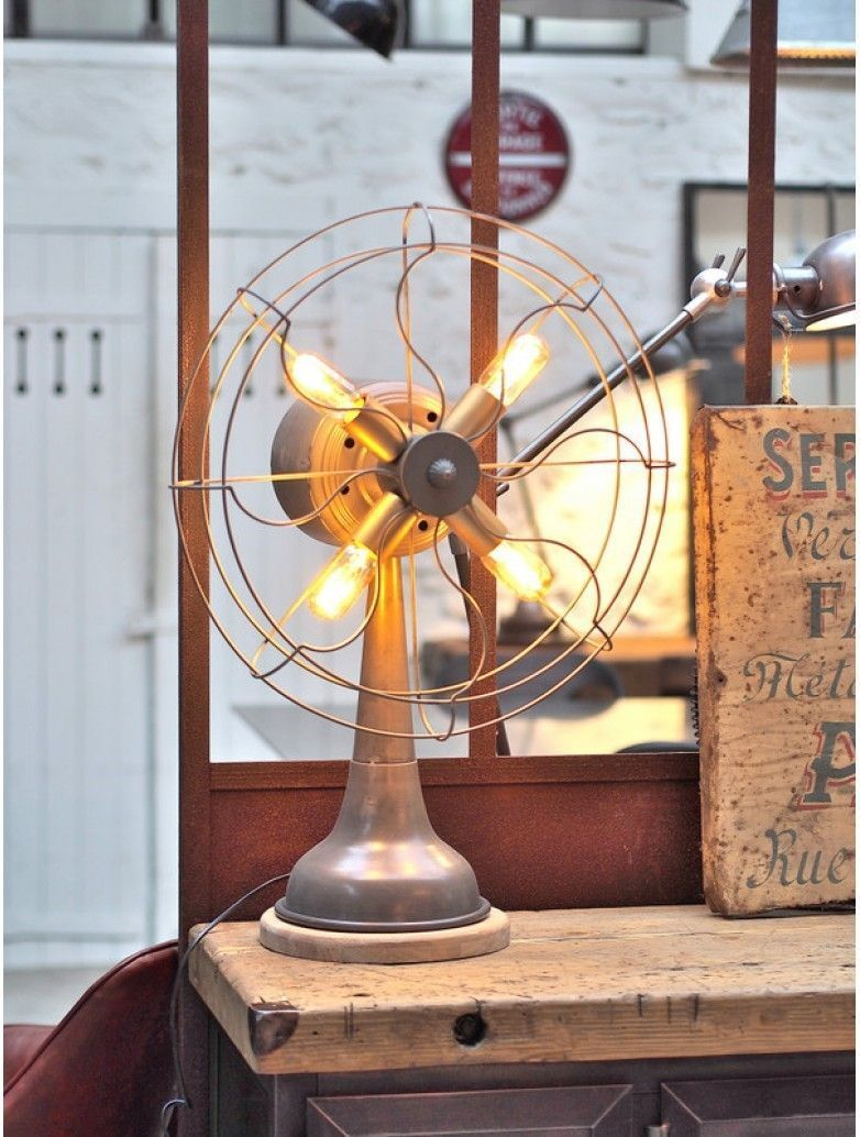 22 -A fan transformed into an industrial table lamp at Metal & Woods