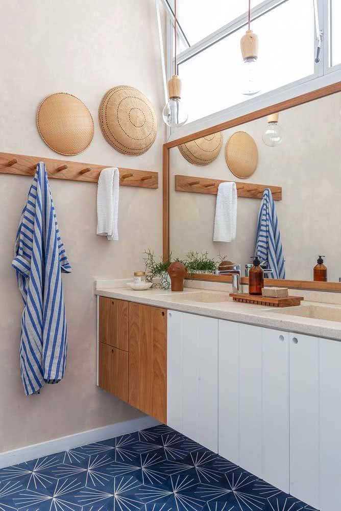 22 - Light granite countertop for a boho style bathroom.