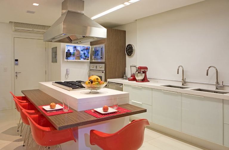 26. Kitchen with white center island and wooden countertop