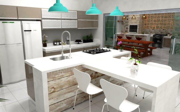28. Kitchen design with island, white countertop and gourmet faucet