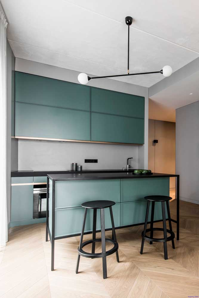 31. Modern small kitchen with custom cabinets in a very ori nal shade of green.