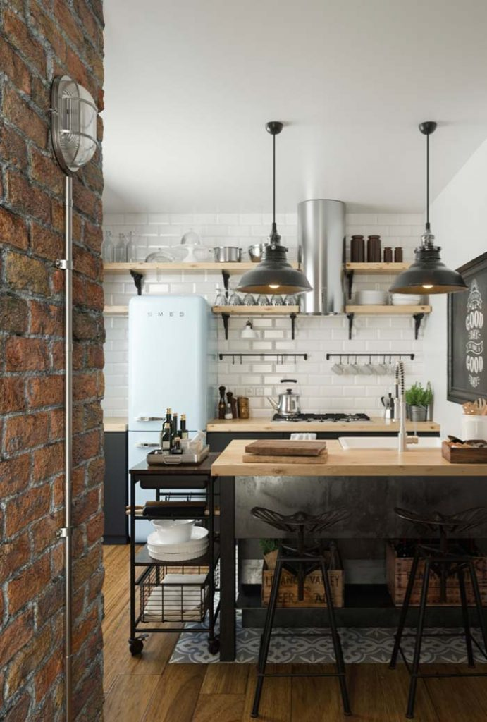 35. Brick wall accentuates the style