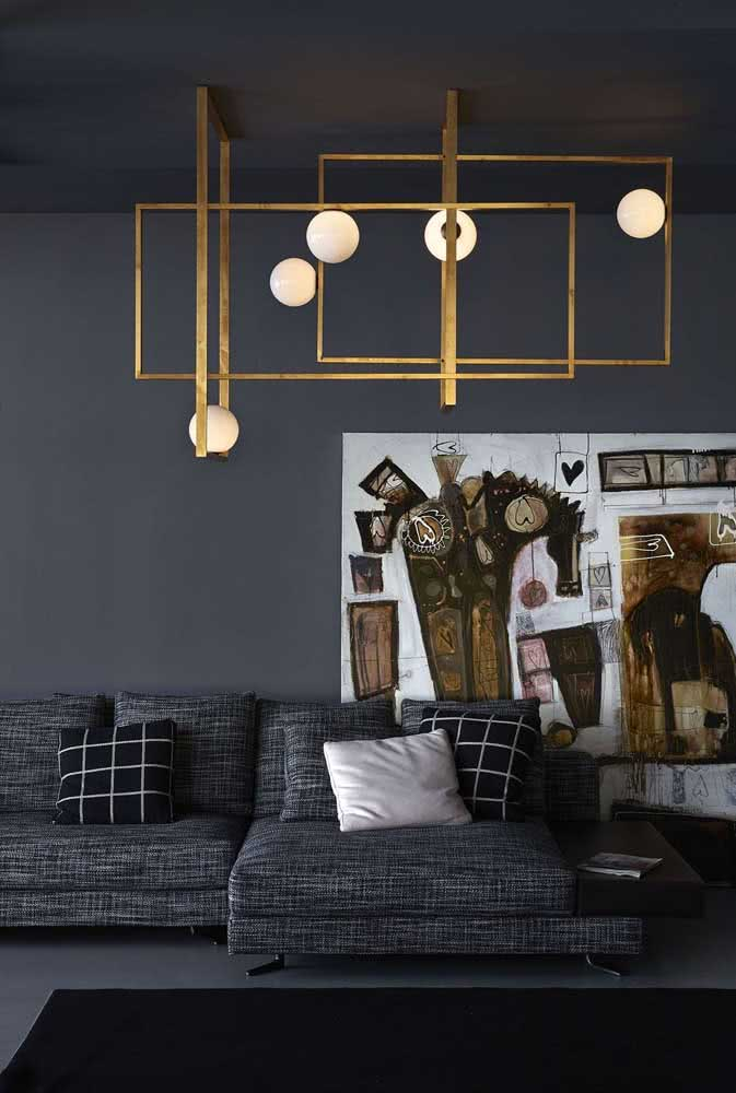 36 - Golden modern chandelier with frames. A perfect model for anyone looking for something that goes beyond lighting.