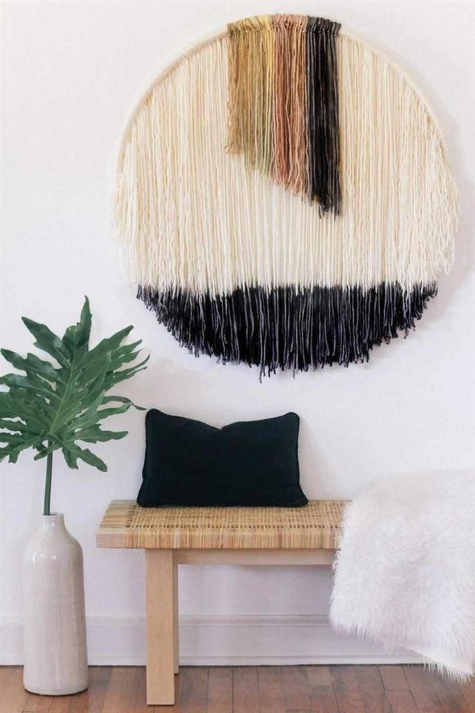 37 - Different wall ornament with hula hoop and threads