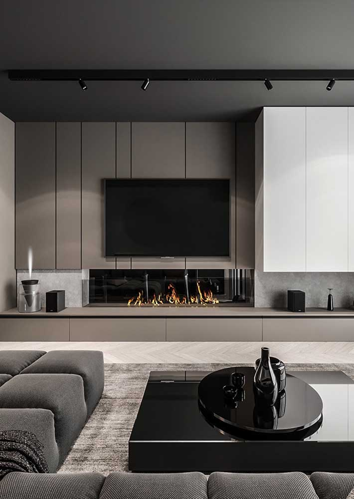 38. Here, the gray panel follows the color palette of the living room.