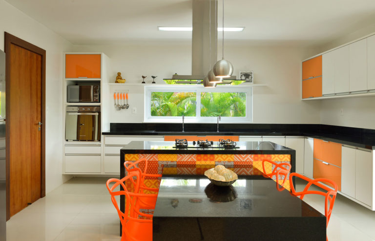 39. Kitchen with island and black stone