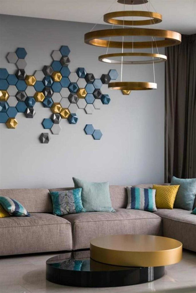 42 - Modern ornament on the sofa wall