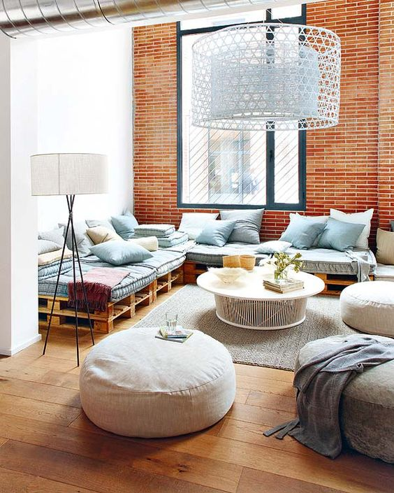 43. This room contained a large and beautiful sofa based on pallets