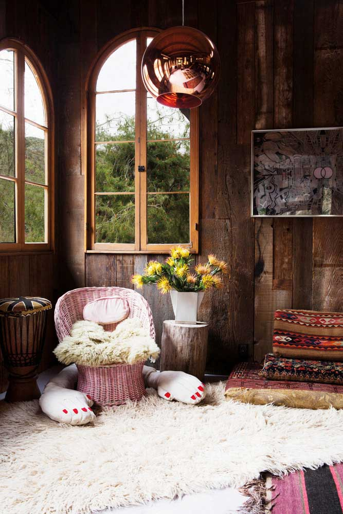 46. Large windows for a rustic room full of natural light.