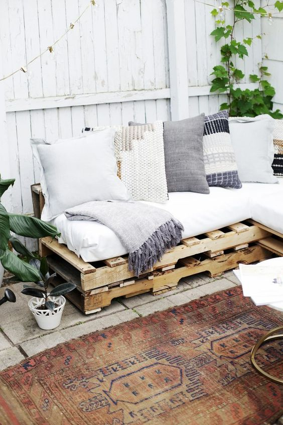 46. The sofa can be a cozy corner on the balcony, on the balcony or outside