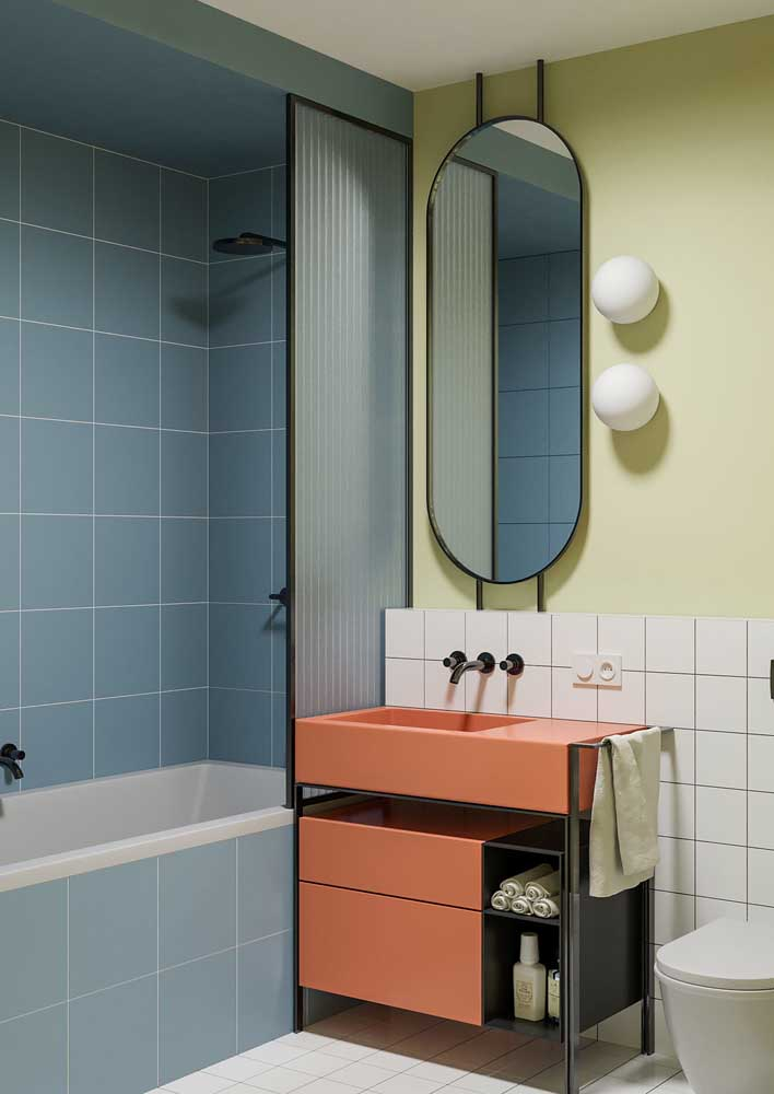 48. Soft colors for the retro-inspired bathroom.