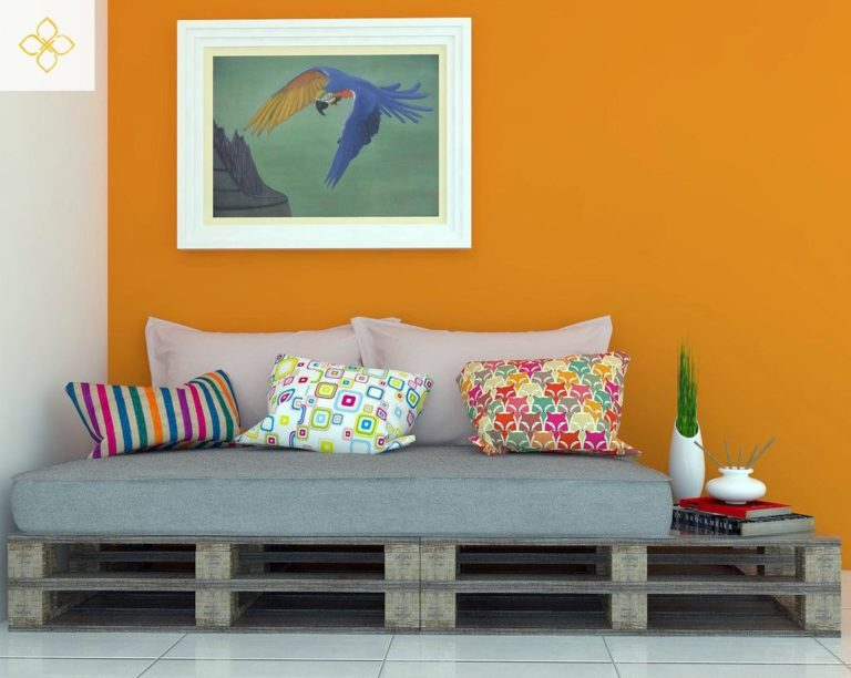 49. For a simple pallet sofa, choose colorful cushions and upholstery