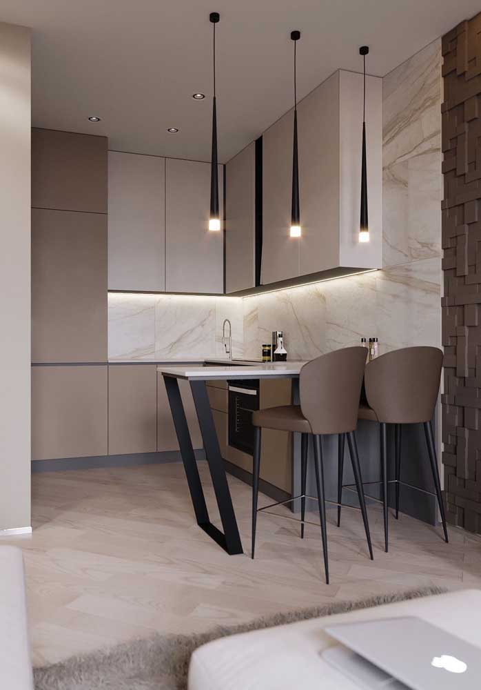 50. Small kitchen with custom cabinetry and modern pendants.