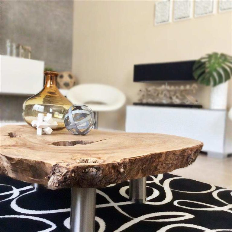 7 - Handmade wooden coffee table with aluminum legs