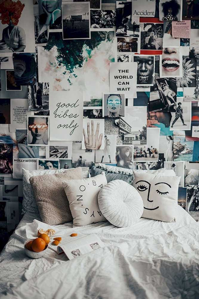 02. If you prefer, you can fill the bedroom wall with several photos and clippings of images that you like.