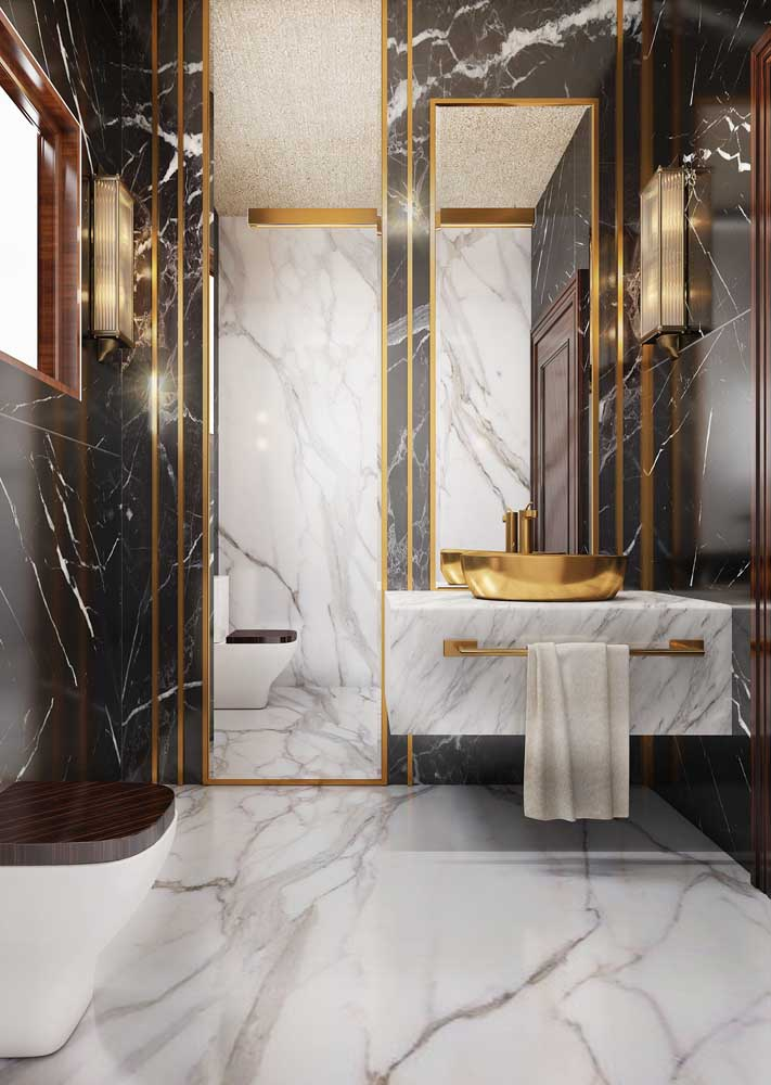 09. Perfect combination of white and black marbles combined with the luxury of golden details.