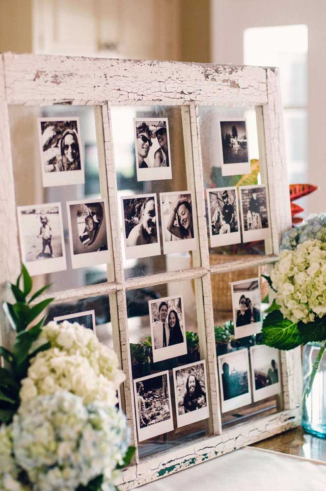 11. Want to make something more rustic take advantage of an old window and paste several photos on the glassss