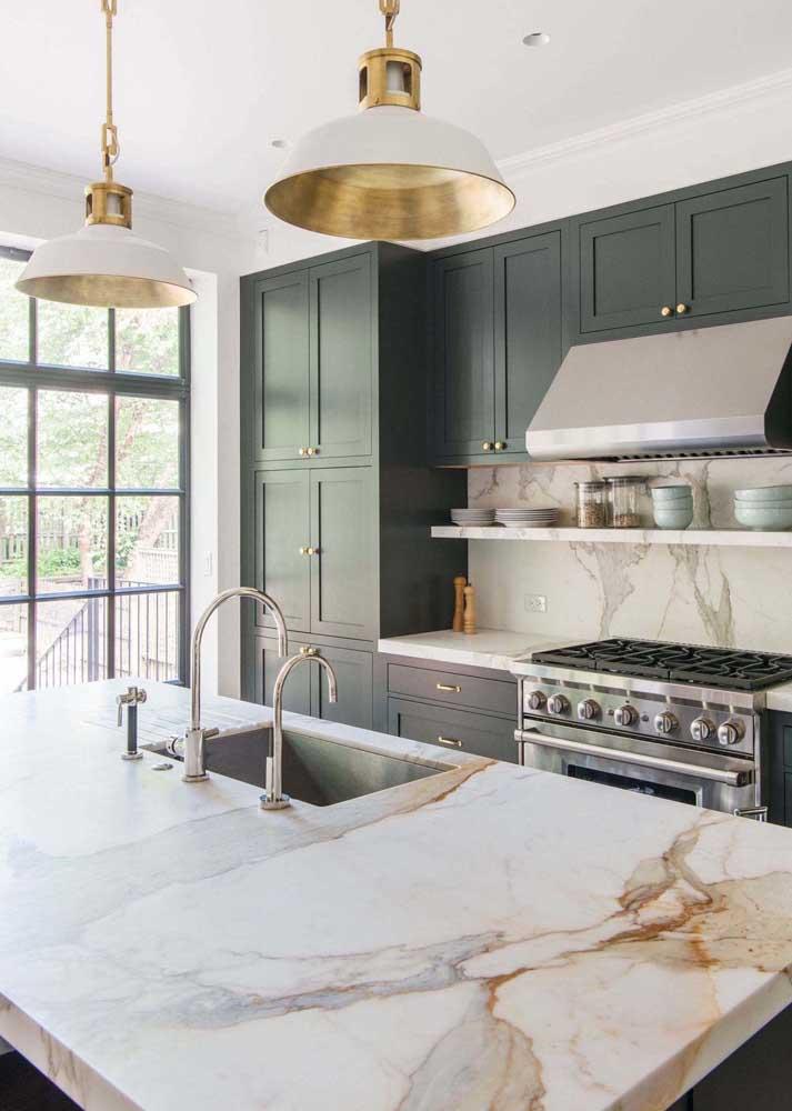 13. Calaccata oro marble kitchen worktop.