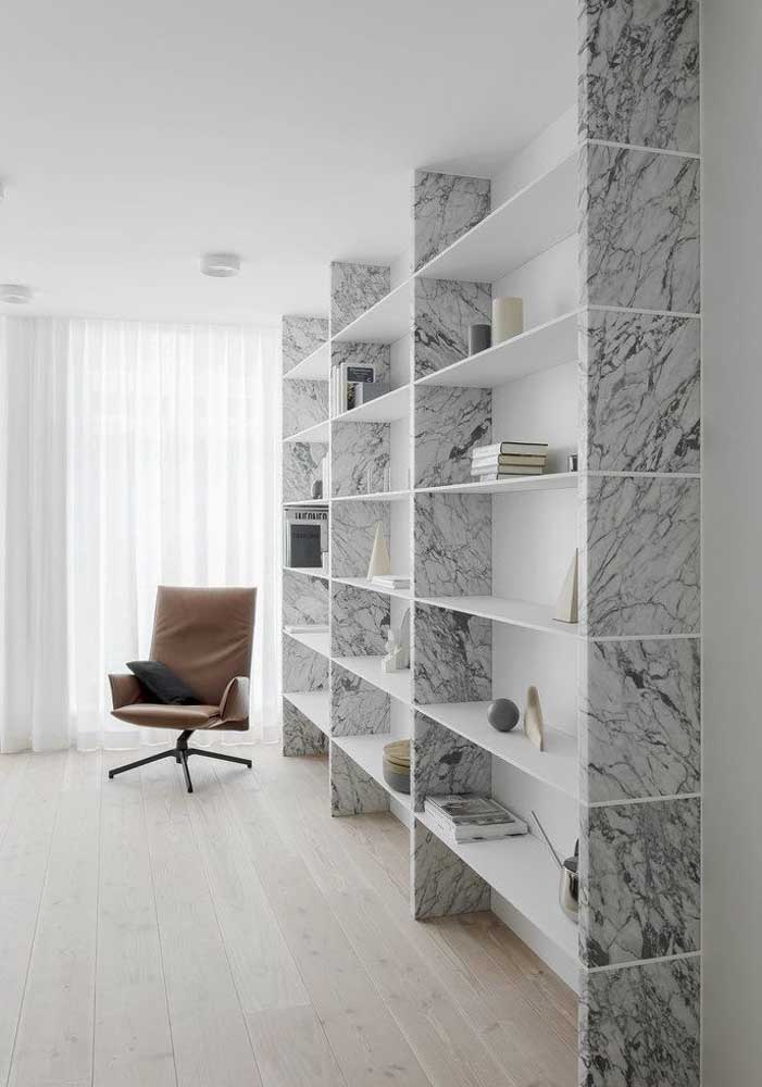 21. Have you ever thought about having a carrara marble bookcase?