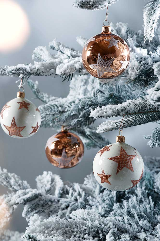 24. Some Christmas balls end up being more traditional, just adding figures like star.