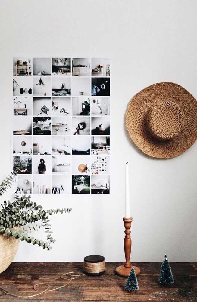 29. Crop multiple photos and make them the same size. Then just stick to the wall always keeping one next to the other.