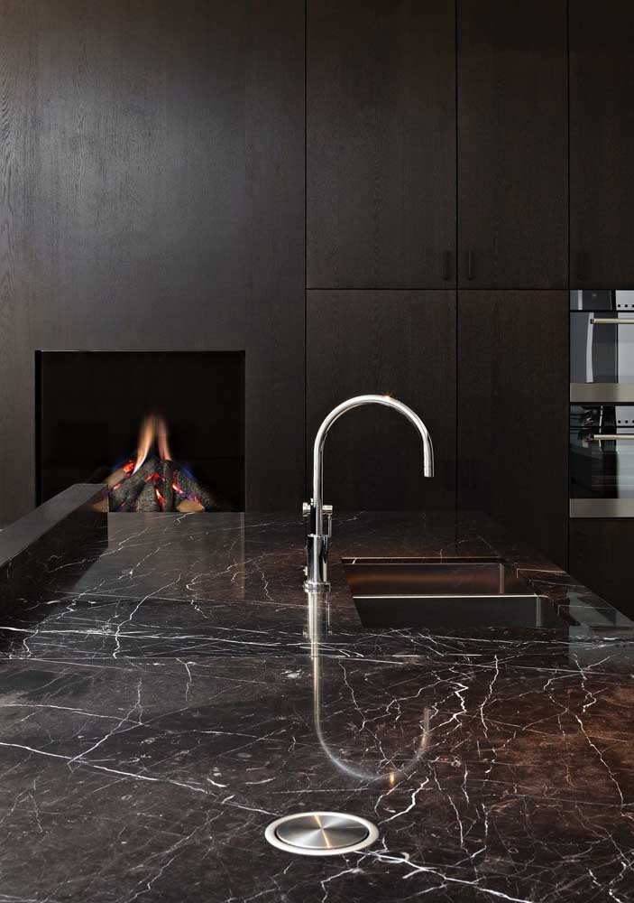 33. Imperial brown marble on kitchen sink countertop.