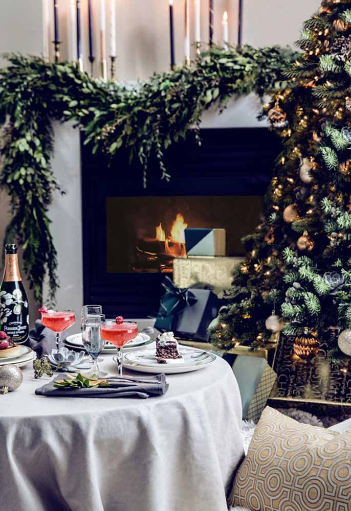 34. Nothing like a fireplace to warm your Christmas dinner guests