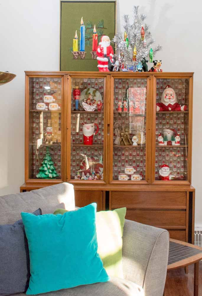 37. How about preparing a cabinet with various Christmas decorations