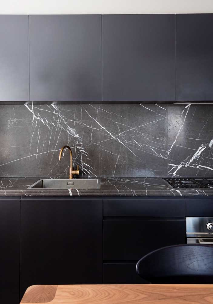 37. Nero marble for the modern kitchen.