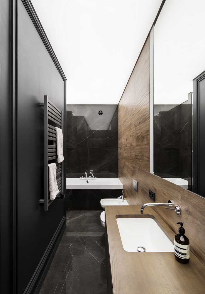 40. Black marble combined with wood.