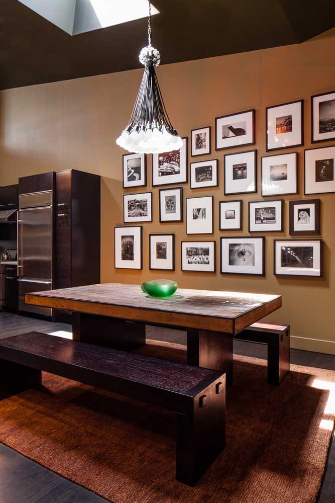 43. Know that it is possible to make a beautiful photo panel in the kitchen to make the environment more cozy.