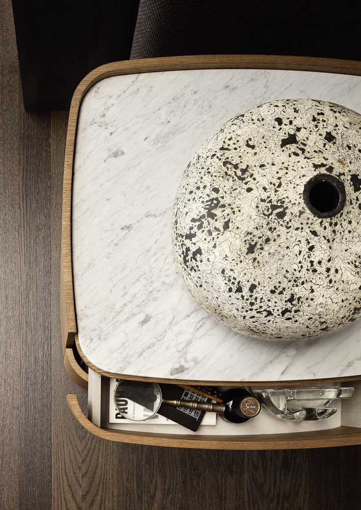47. Coffee table with white marble top.