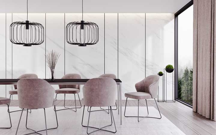 48. Modern dining room with white marble wall.