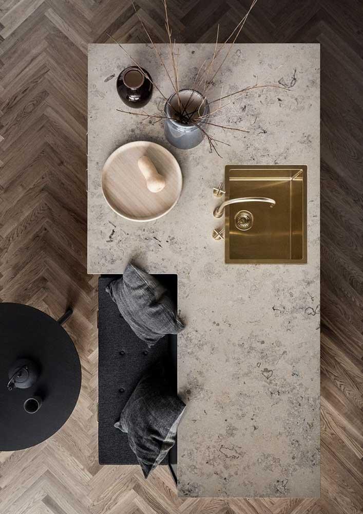 50. Travertine marble kitchen island.